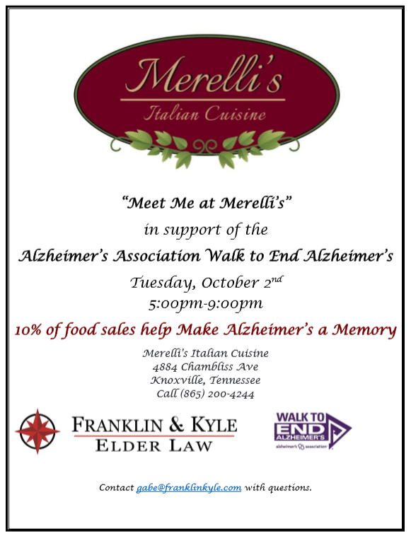 Meet Me at Merelli's Fundraiser for the Walk to End Alzheimer's