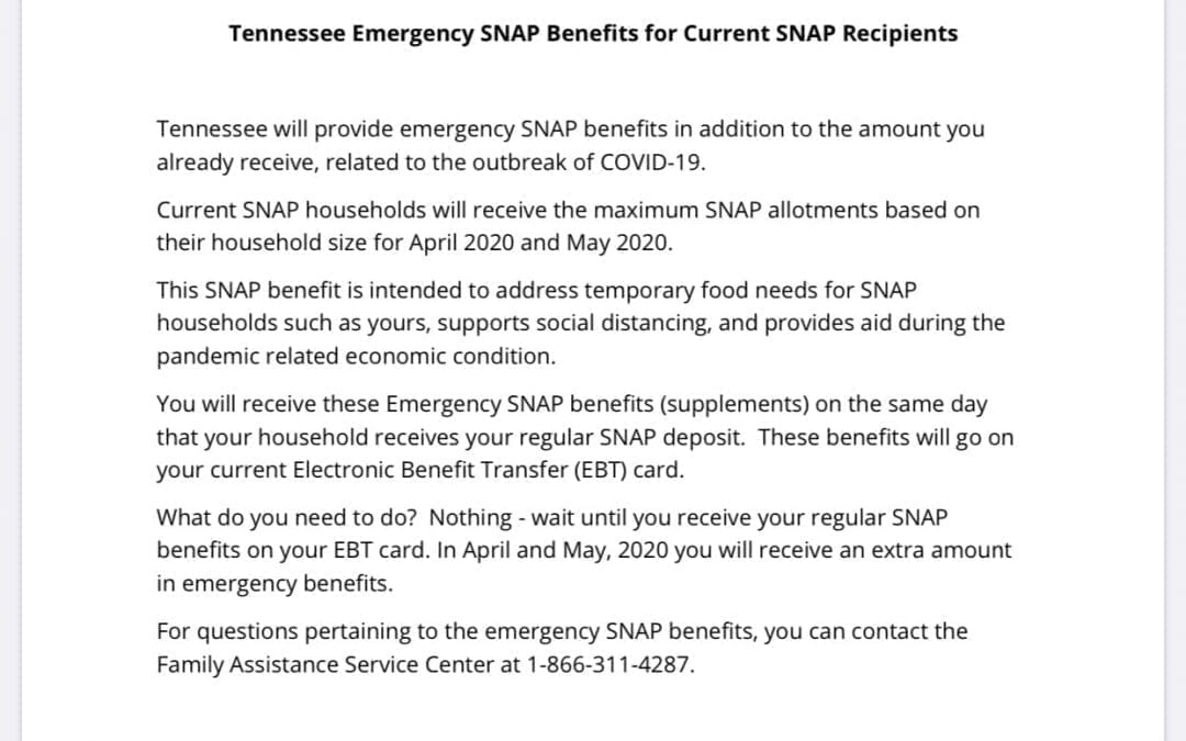 SNAP Benefit Maximum Amount for April and May